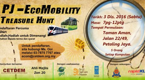 SAT, 3RD DECEMBER 2016, PJ-ECOMOBILITY TREASURE HUNT