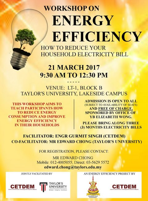 Workshop on Energy Efficiency: How to Reduce Your Household Electricity Bill
