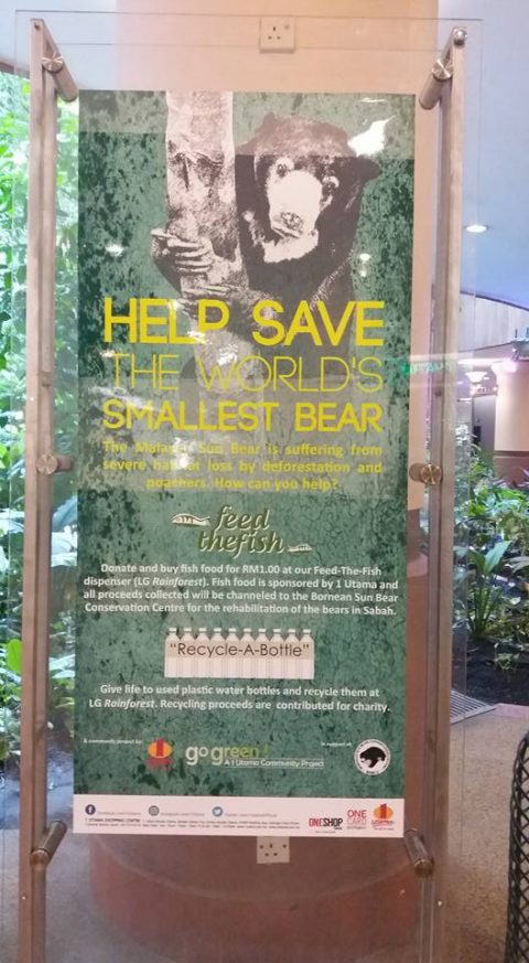 Signs about sun bears in the shopping centre