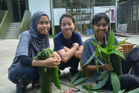 With my new friends, Athirah and Batrisyia