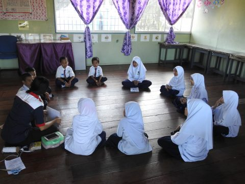 Colouring activity for Primary 1 & Primary 2 students at SK Sabah Cocoa, Lahad Datu