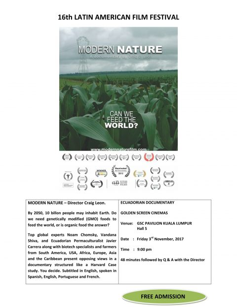 "ECUADORIAN DOCUMENTARY ""MODERN NATURE""  GSC PAVILION, FRIDAY 3RD NOVEMBER 2017, 9:00 PM"
