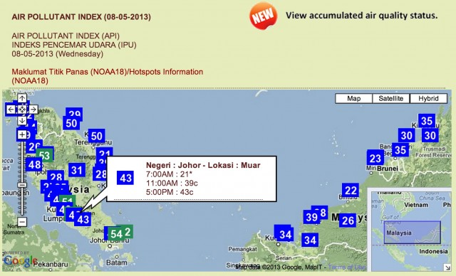 Air Pollution Index Map of Malaysia