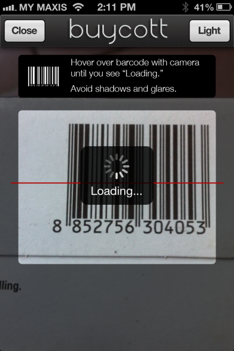 The App detects the barcode and loads the info