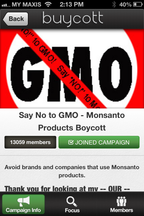 """We joined """"Say No to GMO - Monsanto Products Boycott"""" Campaign"""