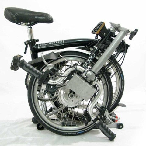 Folded Brompton bicycle