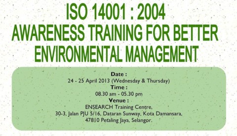 ENSEARCH Training : ISO14001:2004 Awareness Training For Better Environmental Management