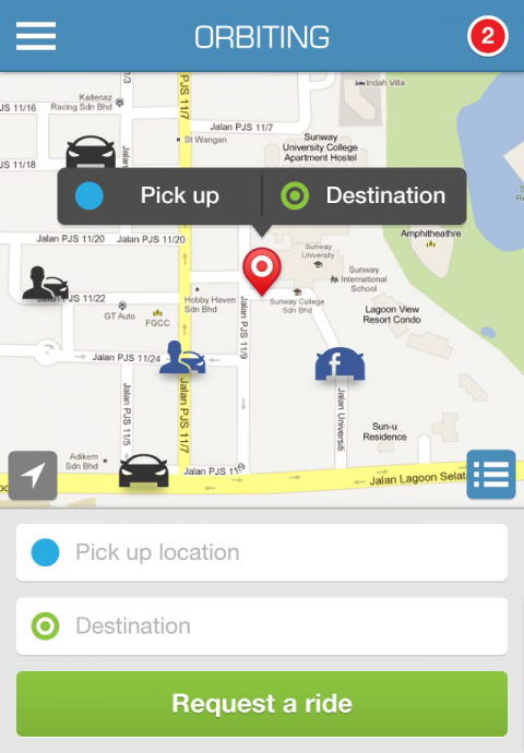 Home screen - Shows other interested carpoolers around you looking for a ride or provide one
