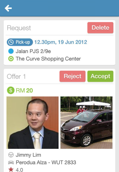 Review offers to requests - As a passenger, review the offers from drivers, as well as their profile before accepting it