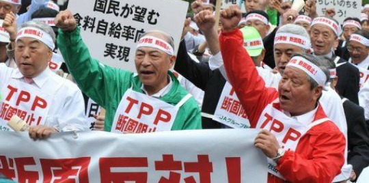 Farmers protest against TPPA in Japan