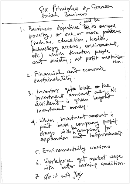 Muhammad Yunus's 7 principles of Social Businesses