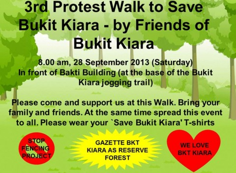 3rd Protest Walk to Save Bukit Kiara – by Friends of Bukit Kiara