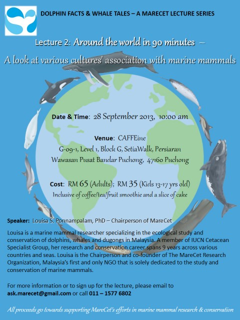 Dolphin Facts and Whale Tales – A MareCet Lecture Series: Around the World in 90 Minutes – A Look at Various Cultures' Association with Marine Mammals