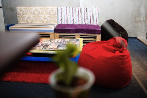 Our cosy rest area cum games lounge has been carpeted with recycled carpets, the sofa base is constructed from recycled pallets.