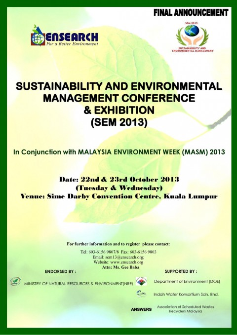 Final Announcement: Sustainability And Environmental Management Conference & Exhibition (Sem 2013)