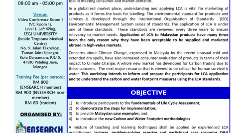 Workshop on Environmental Management Systems: Life Cycle Assessment: What, Why, the Carbon and Water Footprints