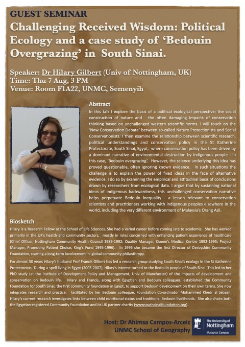 Seminar – Challenging Received Wisdom: Political Ecology and a case study of 'Bedouin Overgrazing' in  South Sinai