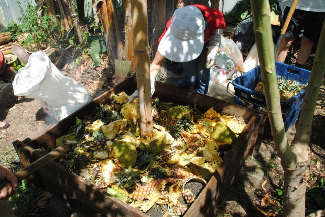 Layering the compost