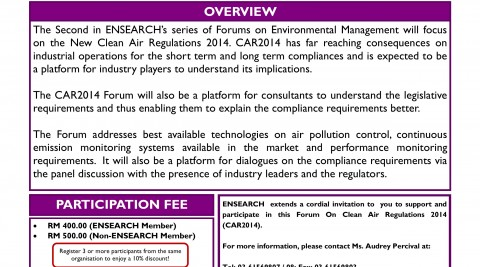 Forum on the New Clean Air Regulations 2014 (CAR2014)