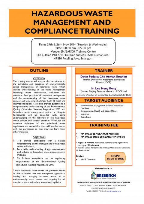 Training Title: Hazardous Waste Management & Compliance Training