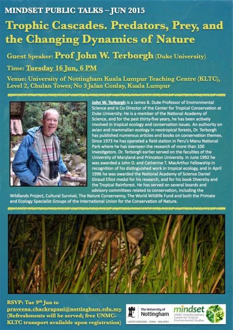 "Mindset Public Talk: ""Trophic Cascades: Predators, Prey and the Changing Dynamics of Nature"""