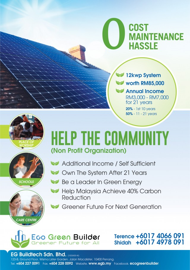 We install free solar for School, Worship Place & Care Center