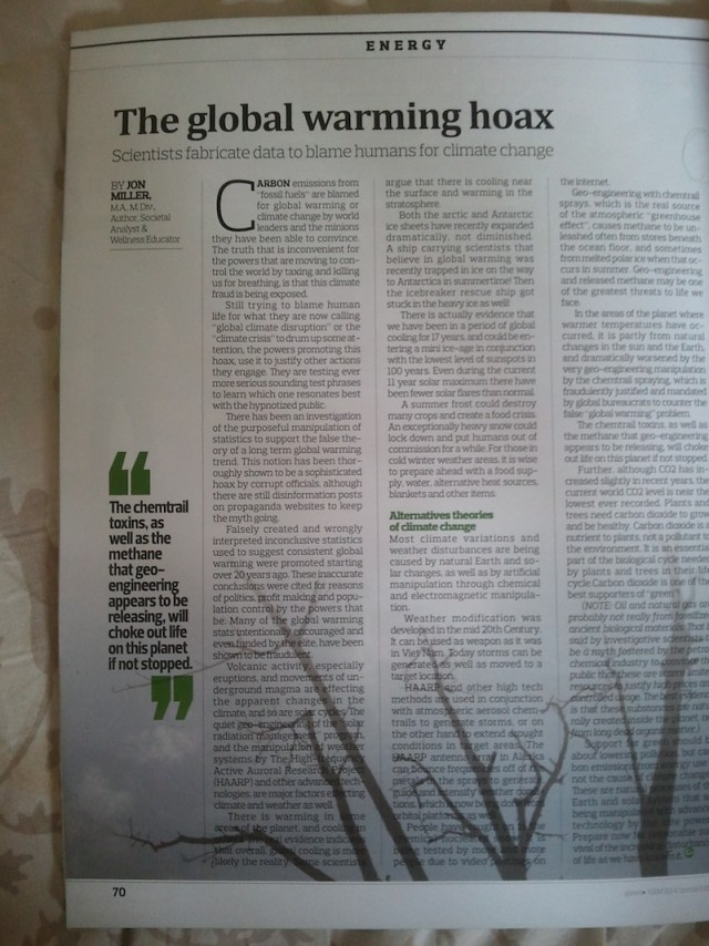 "Article ""The Global Warming Hoax"" on page 70 of the magazine"