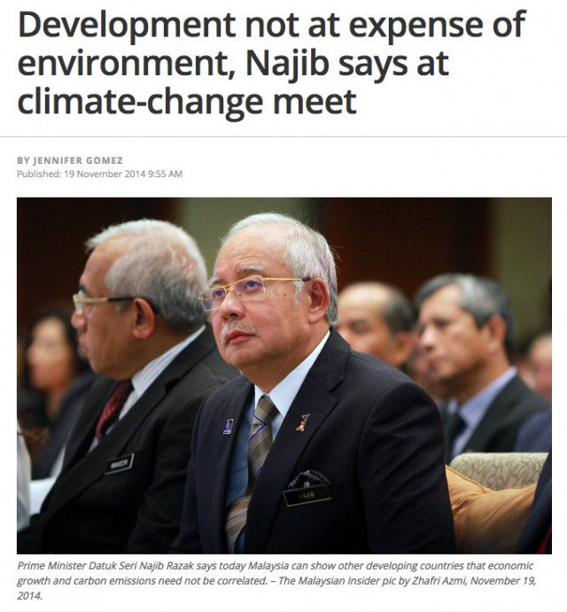 "Development not at expense of environment"", says PM Najib at climate change conference. Original article on The Malaysian Insider."