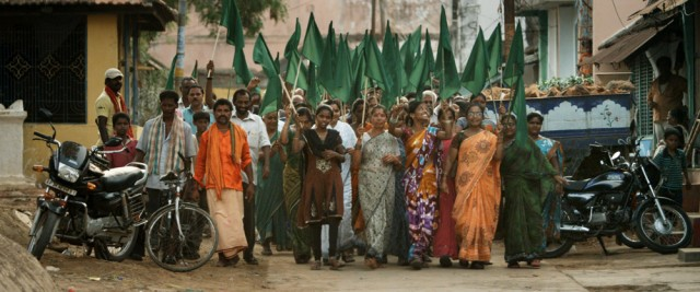 March against coal-fired power plant in Sompeta, India. Still from This Changes Everything.