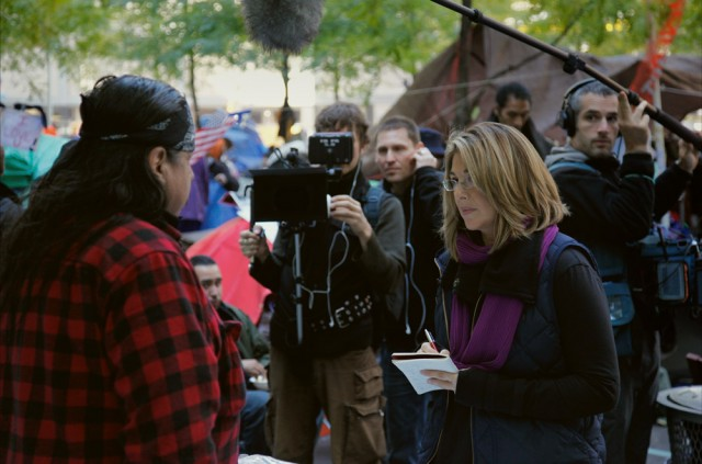 Naomi Klein and crew in New York: DP Mark Ó Fearghaíl, Director Avi Lewis, Sound Daniel Hewett. © Ed Kashi