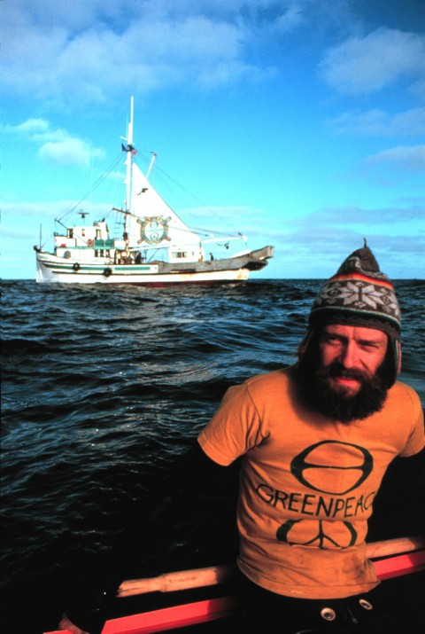 Greenpeace activist Bob (Robert) Hunter  in front of Phyllis Cormack, North Pacific Ocean. First Greenpeace anti whaling campaign.    (Greenpeace 30th Anniversary Images photo 4)