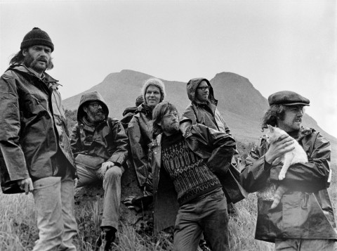 Robert Hunter (left) and other members of the group who took part of the first Greenpeace voyage, which departed Vancouver on the 15th September 1971 to halt nuclear tests in Amchitka.