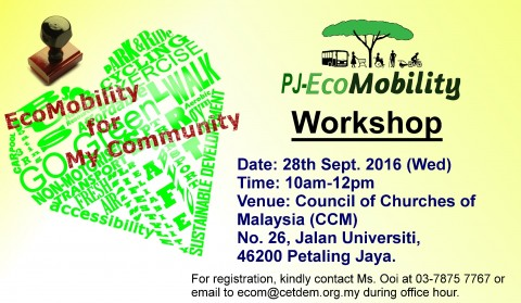 WEDNESDAY, 28 SEPTEMBER 2016 – PJ-ECOMOBILITY WORKSHOP